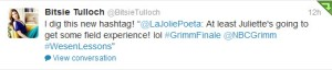 Bitsie Tulloch Tweets She Digs My Grimm Finale Hashtag